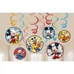 Hanging Swirl Decorations Pack 12pk Mickey Mouse 671789