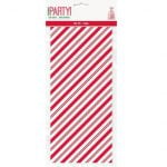 Cello Bags 20pk Christmas Red Stripes Party Bags 78079