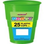 Cups 25pk Lime Green Solid Colour Cups 30105