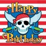 Lunch Napkins 16pk Skull Swords Pirate Luncheon Serviettes 518222
