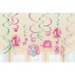 Jungle One Wild Girl 1st Birthday Party Hanging Swirl Decorations Pack 670383