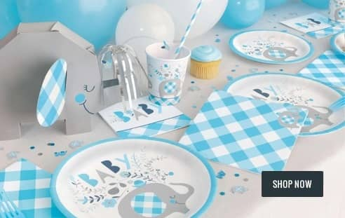 Floral Elephants Baby Shower Boys Blue Baby Shower Party Supplies