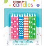 Candles 10pk Neon Assorted Birthday Candles 170003