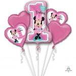 Bouquet Foil Balloons 5pk Disney Minnie Mouse 1st Birthday 3437901